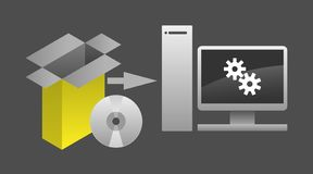 Computer Software Package Installation Vector Illustration. Simple but sharp graphic, soft tones, great for presentations, instructions, etc vector illustration