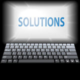 Computer SOLUTIONS in laptop monitor copyspace Royalty Free Stock Images