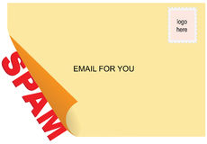 Computer spam. Sending spam through the email. Vector illustration Stock Photo