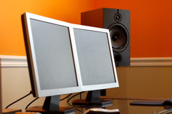 Computer and Speaker Royalty Free Stock Photo