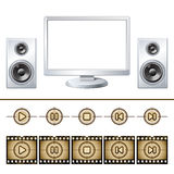 Computer  with speaker isolated. Media buttons Stock Photo