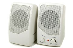 Computer Speakers. Computer Stereo Speakers. On white with a shade Stock Images