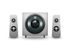 Computer speakers. Computer speaker system isolated on a white background Stock Image