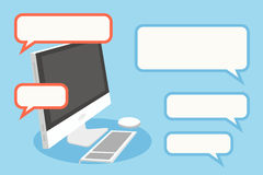 Computer and speech bubbles. Stock Photography