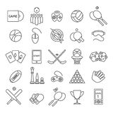 Computer and sports games icons. Computer games and sports games thin line icons, casino games and active games linear signs vector Stock Photos