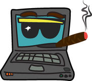 Computer star character. Cartoon computer star character with cigar and glasses Stock Photography
