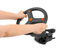 Computer steering wheel and hands Stock Photos