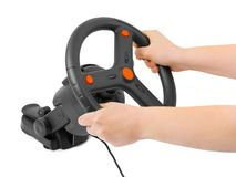 Computer steering wheel and hands Stock Photography