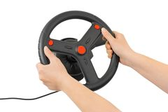 Computer steering wheel and hands Royalty Free Stock Image