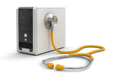 Computer and stethoscope (clipping path included). Computer and stethoscope. Image with clipping path Royalty Free Stock Images