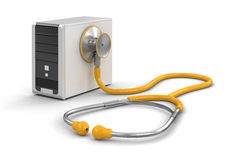 Computer and stethoscope (clipping path included) Royalty Free Stock Image