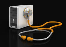 Computer and stethoscope (clipping path included) Royalty Free Stock Images