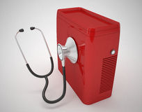 Computer and stethoscope. 3d high quality render Stock Images