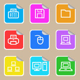Computer sticker icon set. Colorful computer sticker icon set network Royalty Free Stock Photography
