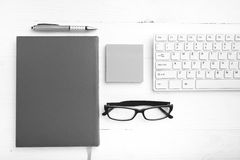 Computer and sticky note black and white color style Stock Images