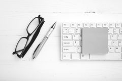 Computer and sticky note black and white color style Royalty Free Stock Images