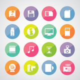 Computer and storage icons set Royalty Free Stock Photography