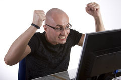 Computer Stress. Powerful frustration image Stock Image
