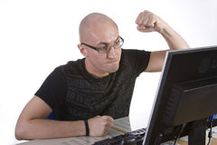 Computer Stress. Powerful frustration image Royalty Free Stock Photo