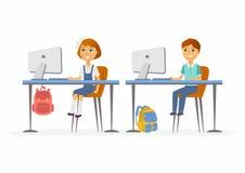Computer studies - junior school children at the PCs. Computer studies - modern vector illustration of happy little junior school children working at the PCs Royalty Free Stock Image