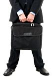 Computer Suitcase. Man holding computer suitcase. Business on the move Stock Image