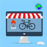 Computer supermarket internet commerce concept. Bicycle rental and sales online. Royalty Free Stock Images