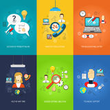 Computer support mini poster set multicolored. Nonstop computer technical support and troubleshooting mini poster set multicolored isolated vector illustration royalty free illustration