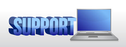 Computer support sign 3d text and laptop Stock Photo