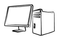 Computer, system block, monitor Stock Photography
