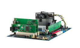 Computer system mainboard. Isolated on white Royalty Free Stock Photography