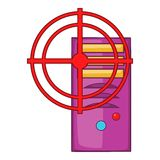 Computer system and red target icon, cartoon style. Computer system with red target icon in cartoon style isolated on white background vector illustration Stock Images