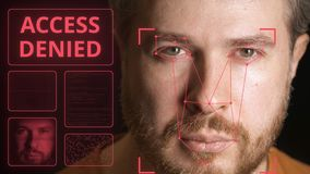 Computer system scans man`s face and can`t identify person. Access denied. Computer system scans face and identifies person stock video