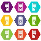 Computer system unit icon set color hexahedron royalty free illustration