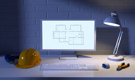 Computer, table lamp, helmet and construction tools Stock Photography