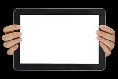 Computer tablet with blank screen isolated Royalty Free Stock Images