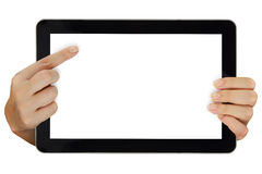 Computer tablet with blank screen isolated Stock Images