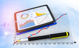 Computer tablet with business documents. 3d illustration Stock Images