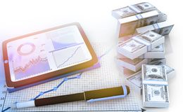 Computer tablet with business documents and dollar. 3d render Royalty Free Stock Photography