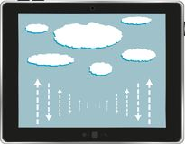 Computer tablet with cloud isolated on white Stock Image