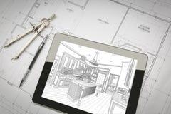 Computer-Tablet, das Küchen-Illustration auf Haus-Plänen, Stift zeigt Stockfotografie