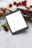 Computer Tablet dessert recipes Stock Image