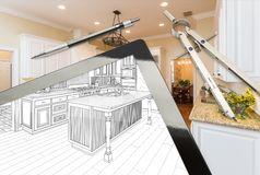 Computer Tablet, Drafting Tools With Kitchen Drawing and Photograph Combination. Computer Tablet and Drafting Tools With Kitchen Drawing and Photograph stock photos