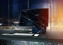 Computer, tablet en smartpone aan Internet wordt aangesloten dat Concept Internet netwerk 3d geef terug Stock Afbeelding