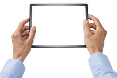 Computer Tablet Hands Business Technology. Hands holding a computer tablet with a blank screen isolated on white Stock Photography