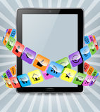 Computer tablet with internet icons Royalty Free Stock Photography