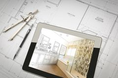 Computer Tablet with Master Bathroom Design Over House Plans. Pencil and Compass Stock Images