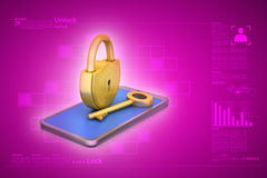 Computer tablet with padlock Stock Image