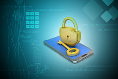 Computer tablet with padlock Stock Photo