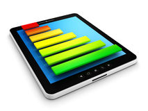 Computer tablet pc with colorful success bar graph. 3d Stock Photography