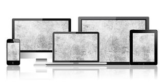 Computer, tablet pc, mobile phone and notebook Stock Image